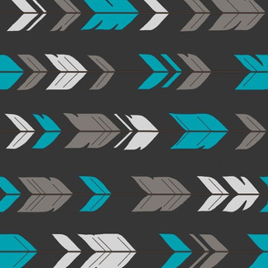 Arrow Feathers - Rotated - Teal, Charcoal, Grey
