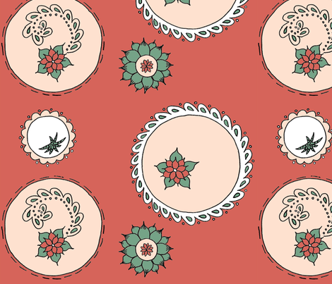 Succulent circles fabric by felecialyn on Spoonflower - custom fabric