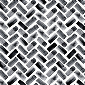 (small scale) watercolor herringbone - black