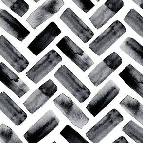 watercolor herringbone - black