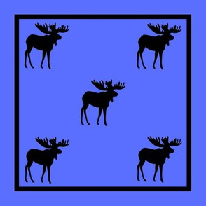 Bull Moose Silhouette-BlueFramed