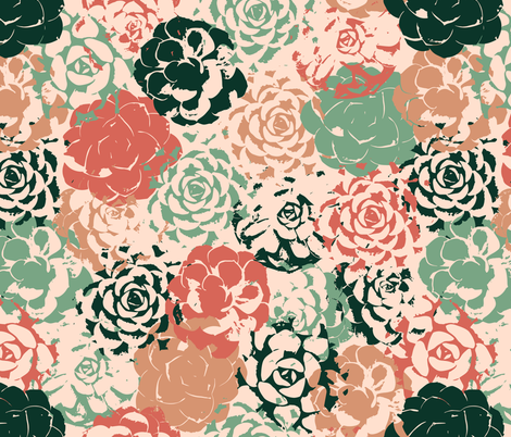 Stamped Succulent Garden fabric by elliottdesignfactory on Spoonflower - custom fabric