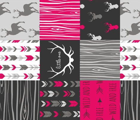 Wholecloth Quilt - Rotated - Fuchsia, black, gray and white Woodland Wholecloth Quilt -  fabric by sugarpinedesign on Spoonflower - custom fabric