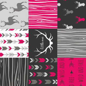 Wholecloth Quilt - Rotated - Fuchsia, black, gray and white Woodland Wholecloth Quilt -