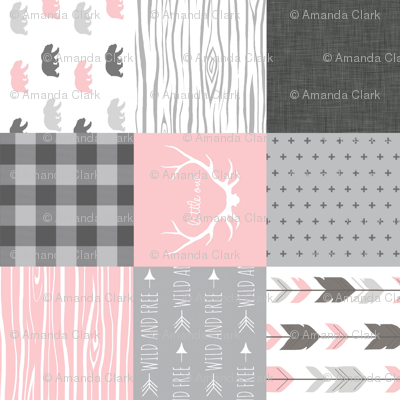 Bear Quilt - Rotated - Baby Girl Woodland - pink and grey Wholecloth Patchwork quilt