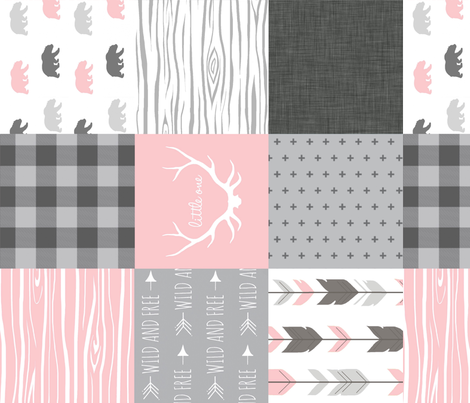 Bear Quilt - Rotated - Baby Girl Woodland - pink and grey Wholecloth Patchwork quilt fabric by sugarpinedesign on Spoonflower - custom fabric