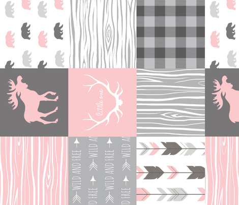 Moose and Bears Quilt - Baby Girl Woodland - pink and grey Wholecloth Patchwork Quilt - woodland Nursery Blanket fabric by sugarpinedesign on Spoonflower - custom fabric