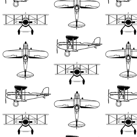 Biplanes // Small fabric by thinlinetextiles on Spoonflower - custom fabric