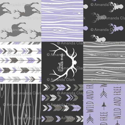 Patchwork Deer - Lilac, Grey and Black - Rotated
