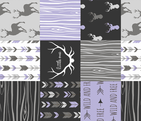 Patchwork Deer - Lilac, Grey and Black - Rotated fabric by sugarpinedesign on Spoonflower - custom fabric
