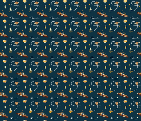 Outer space navy blue aliens spaceship small for Spaceship fabric