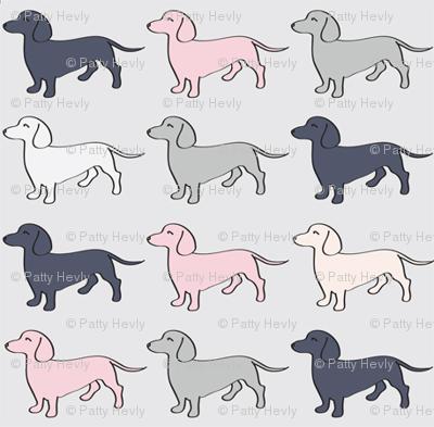 Doxie Madness - Dog - Pink, Grey, Navy