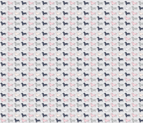 Doxie Madness - Dog - Pink, Grey, Navy fabric by whyitsme_design on Spoonflower - custom fabric