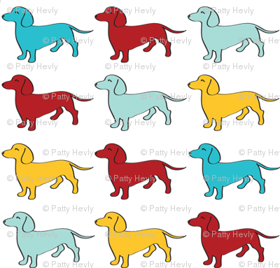 Doxie Madness - Blue, yellow, red