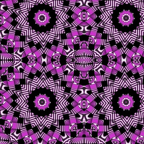 hot pink black curlycues weave kaleidoscope pattern