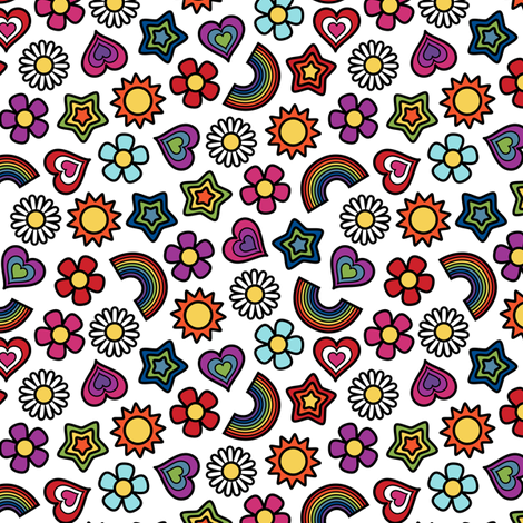 Flower Power Ditsy Small White fabric by modgeek on Spoonflower - custom fabric