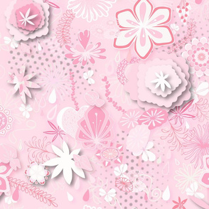 Paper-cut Florals Seamless Repeating Pattern on Pink