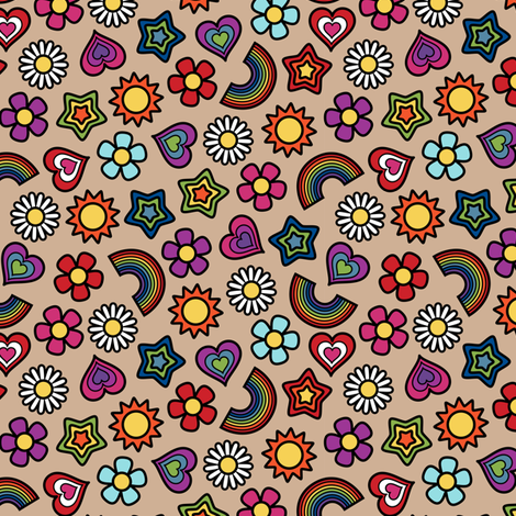 Flower Power Ditsy Small Khaki fabric by modgeek on Spoonflower - custom fabric