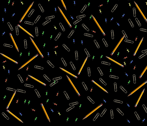 Pencils Paperclips Pushpins Black fabric by tell3people on Spoonflower - custom fabric