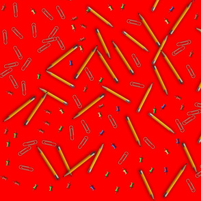 pencils paperclips pushpins red
