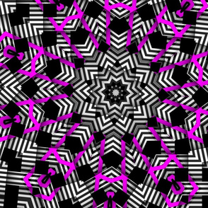 pink diamonds black white stripe kaleidoscope pattern