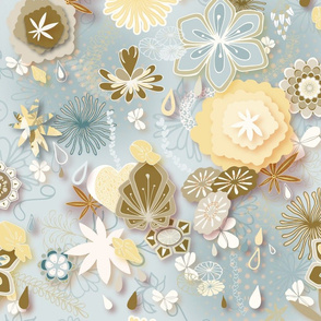 Paper-cut Florals Seamless Repeating Pattern on Blue