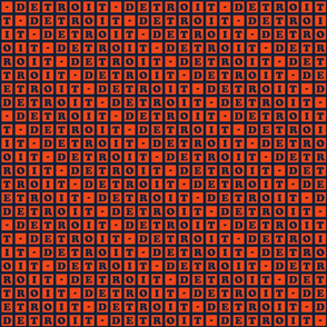 Detroit Letter Blocks - Navy and Orange