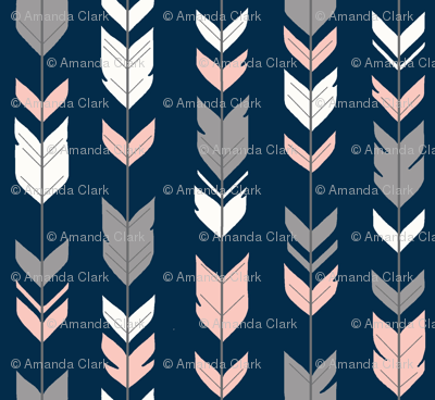Arrow Feathers - smallscale - coral, grey and white on navy - SweetBrook
