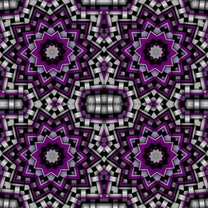 Purple White Black Star Kaleidoscope