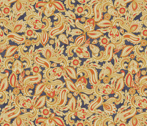 French Paisley - Navy fabric by meganpalmer on Spoonflower - custom fabric