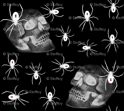 spiders and skull on black