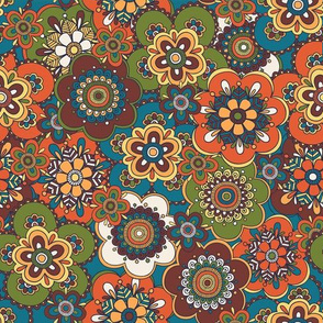 Free Wind Packed Floral - Orange/Teal