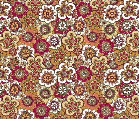 Free Wind Packed Floral - Gold fabric by meganpalmer on Spoonflower - custom fabric