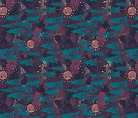 Forest Bear Mountain Rotated fabric by phirefly_print on Spoonflower - custom fabric