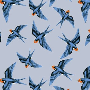 Swallow Blue Scattered on Storm Grey