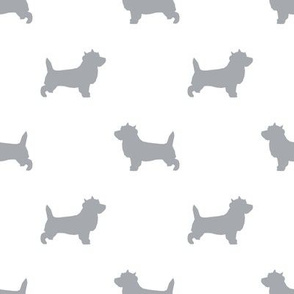 Cairn Terrier silhouette dog breed white grey