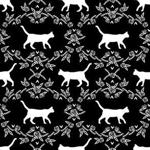 Cat florals silhouette cats pattern black