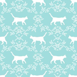 Cat florals silhouette cats pattern blue tint