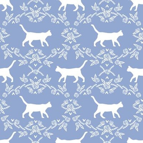 Cat florals silhouette cats pattern cerulean