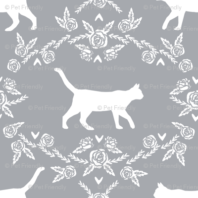 Cat florals silhouette cats pattern grey