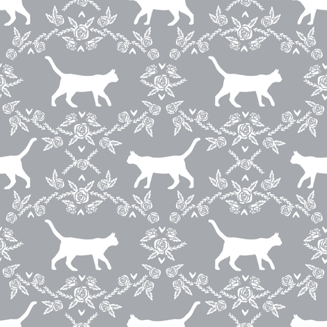Cat florals silhouette cats pattern grey fabric by petfriendly on Spoonflower - custom fabric