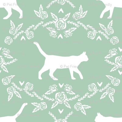 Cat florals silhouette cats pattern mint