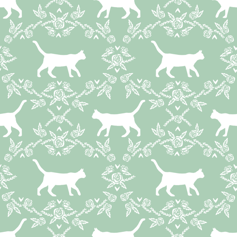 Cat florals silhouette cats pattern mint fabric by petfriendly on Spoonflower - custom fabric