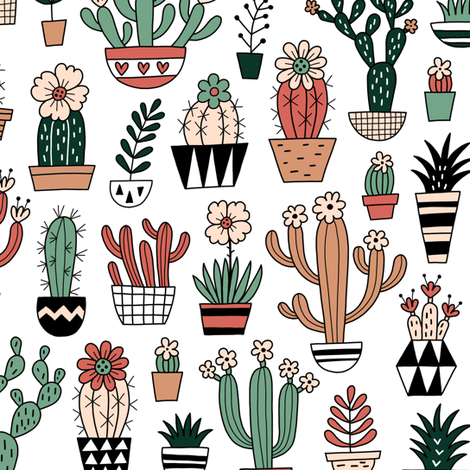 blooming succulents fabric by mirabelleprint on Spoonflower - custom fabric