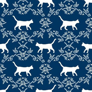 Cat florals silhouette cats pattern navy