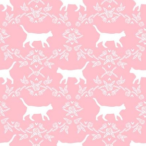 Cat florals silhouette cats pattern pink