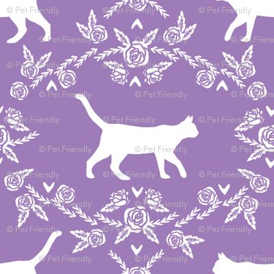 Cat florals silhouette cats pattern purple