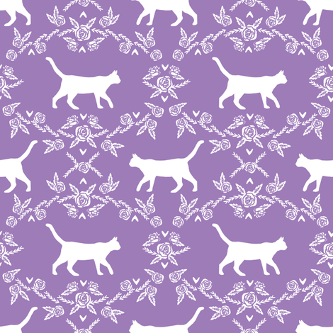 Cat florals silhouette cats pattern purple fabric by petfriendly on Spoonflower - custom fabric