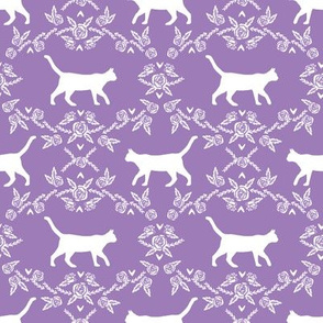 Cat florals silhouette cats pattern purple