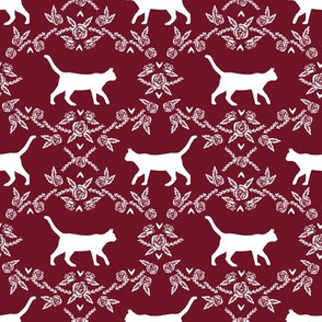 Cat florals silhouette cats pattern ruby